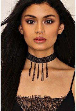Fishnet Wide Dangle Detail Choker