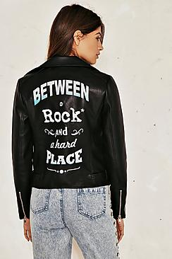 Ellie Back Slogan Leather Jacket