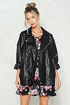 Willow Oversized Faux Leather Biker Jacket