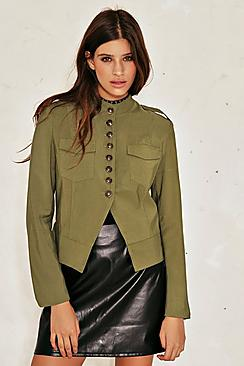 Rose Military Button Crop Jacket