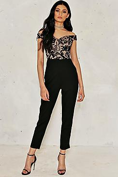 Molly Crochet Lace Bardot Jumpsuit