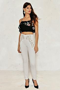 Eleanor Embroidered Lace Frill Crop Top