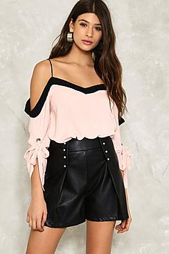 Megan Cold Shoulder Tie Sleeve Top