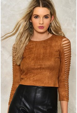 Suedette Slash Sleeve Crop Top