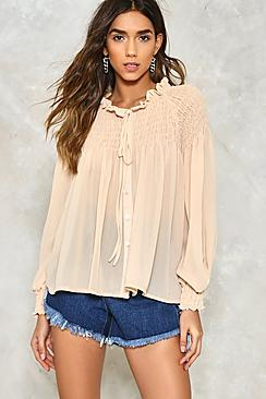 Amy Shirred Tie Neck Blouse