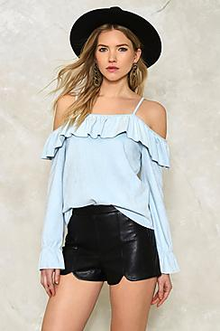 Erin Suedette Cold Shoulder Ruffle Top