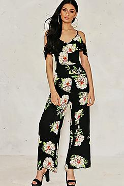 Violet Cold Shoulder Floral Jumpsuit