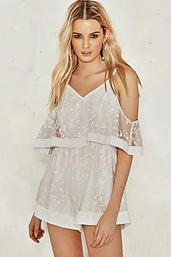 Keira Embroidered Mesh Playsuit