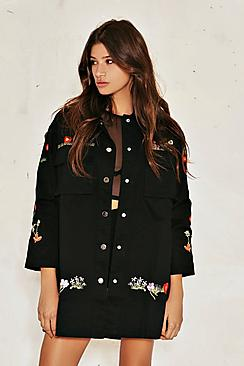 Katie Embroidered Flower Shirt Dress