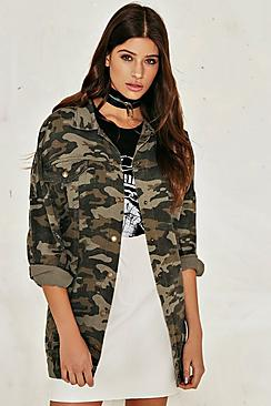 Emily Camo Longline Denim Jacket