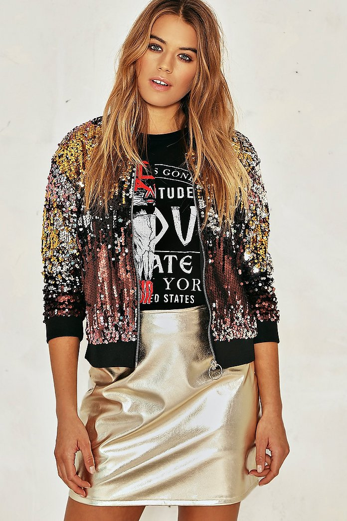 Zoe Sequin Bomber Jacket