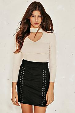 Isla Lace Up Suedette Mini Skirt
