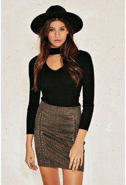 Lace Up Suedette Mini Skirt