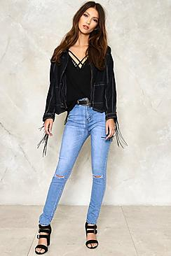 Lucia Skinny Ripped Knee Jeans
