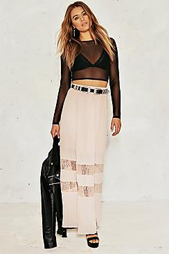 Harley Pleated Lace Insert Maxi Skirt