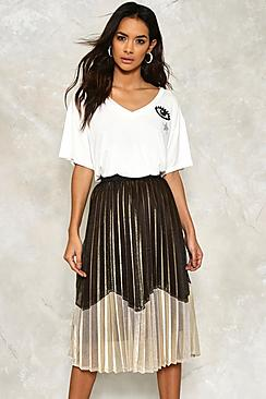 Zoe Metallic Pleated Midi Skirt