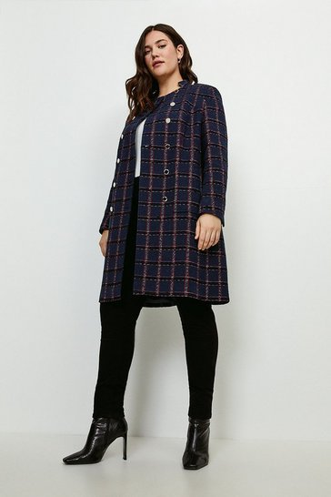 Navy Curve Italian Tweed Double Breasted Coat