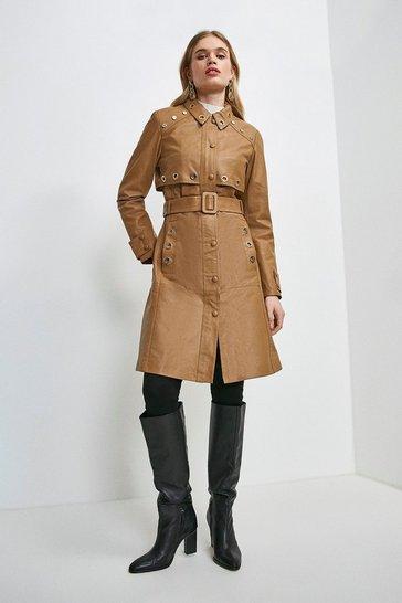 Tan Leather Eyelet Trim Trench Coat
