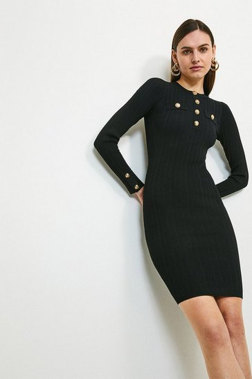 Black Military Trim Knitted Dress