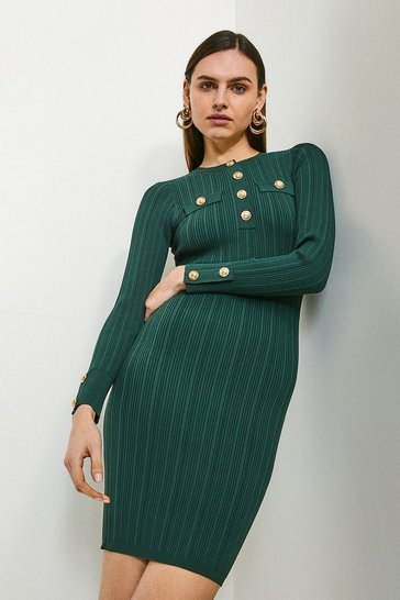 Dark green Military Trim Knitted Dress