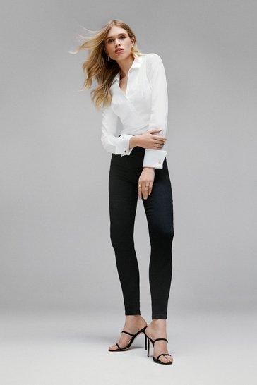 Black Contour Cut Skinny Jean