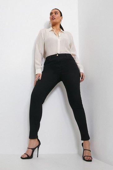 Black Curve Contour Cut Skinny Jean
