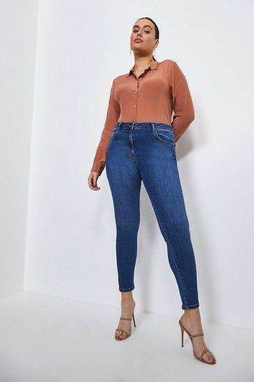 Mid wash Curve Contour Cut Skinny Jean