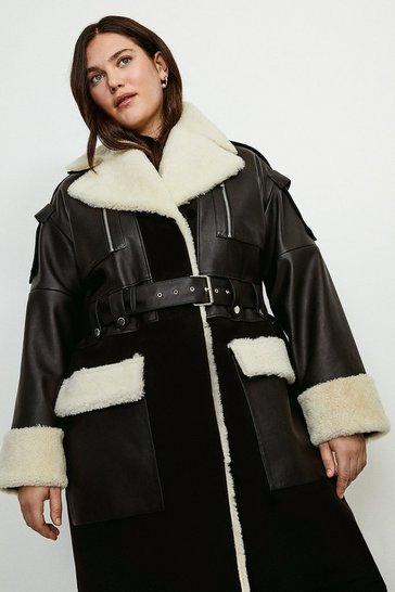 Black Curve Leather Shearling Mix Trench