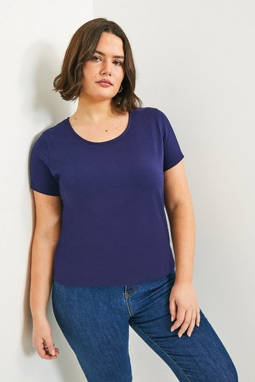 Navy Curve Organic Cotton Fitted Crew Neck Tee