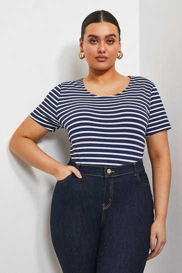 Navy Curve Organic Cotton Fitted Stripe Crew Neck