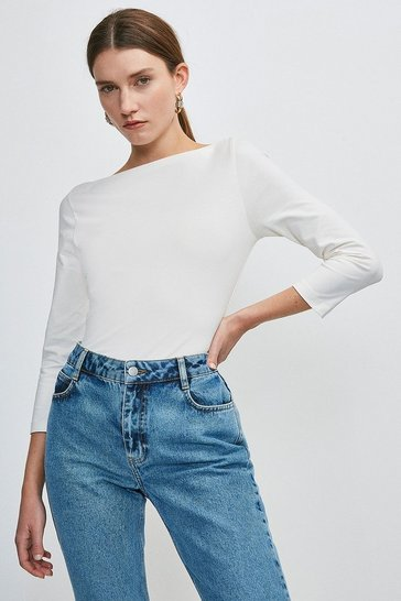 White Organic Cotton Slash Neck Top