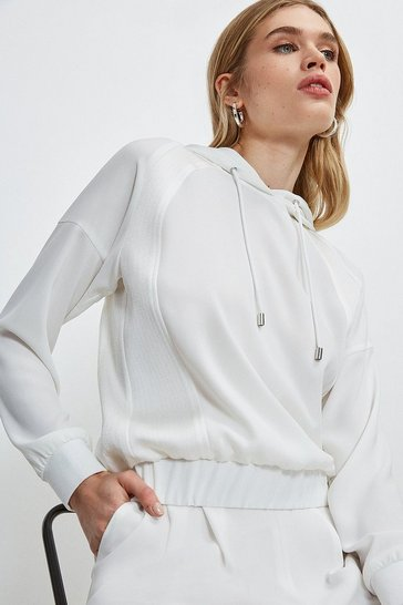 Ivory Luxe Hooded Top with Multistitch Detail