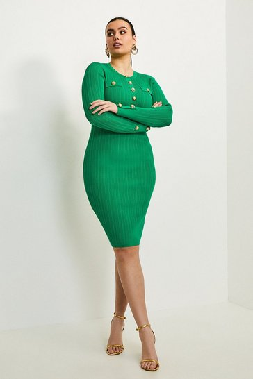 Green Curve Military Button Knit Dress