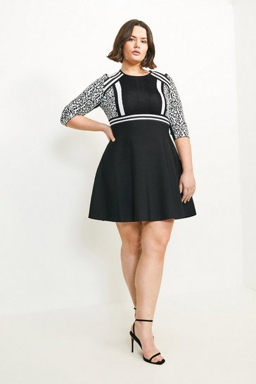 Blackwhite Curve Leopard Fit And Flare Dress