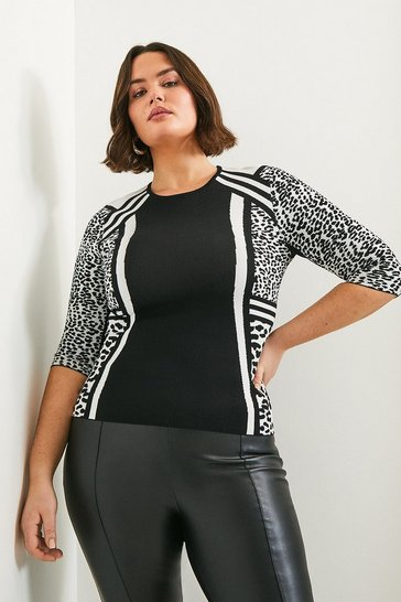 Blackwhite Curve Monochrome Leopard Fitted Top