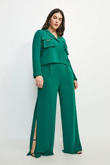 Green Curve Luxe Side Split Wide Leg Trouser
