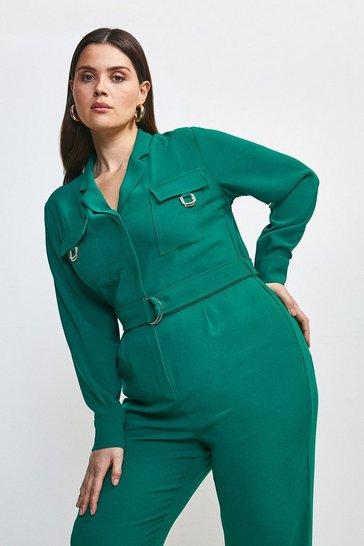 Green Curve Luxe Gold Trim Detail Jumpsuit