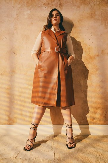 Tan Curve Sleeveless Trench