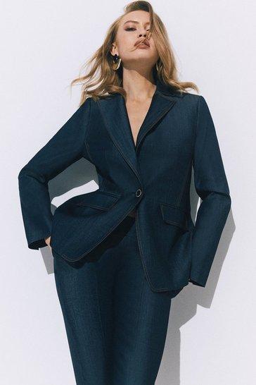 Denim-blue Tailored Denim Blazer