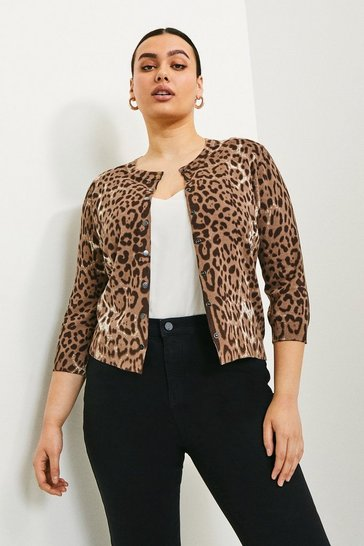 Curve Leopard Print Knitted Cardigan