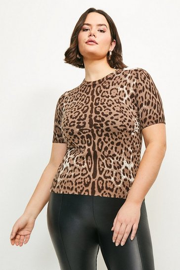 Curve Leopard Knitted Tee