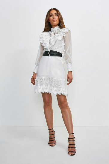 White Broderie And Ruffle Detail Dress