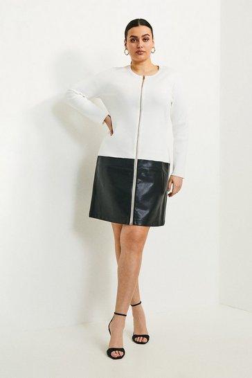 Ivory  Curve Faux Leather Hem Knit Dress