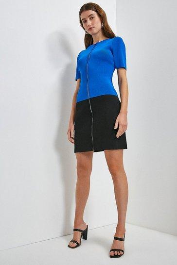 Cobalt Short Sleeve Zip Col Block Knitted Dress