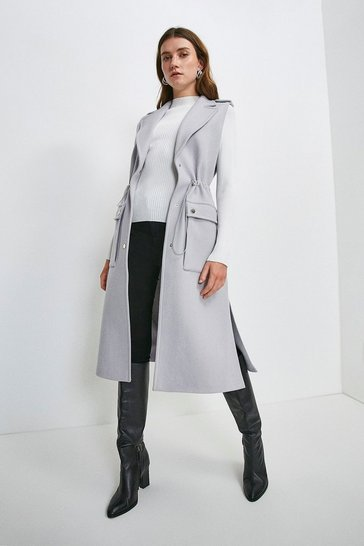 Grey Italian Wool Blend Sleeveless Coat