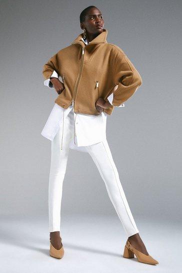 Camel Italian Wool Blend Funnel Neck Short Coat