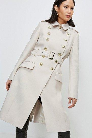 Stone Italian Longline Wool Trench Coat