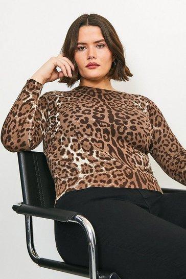 Curve Leopard Print Knitted Jumper