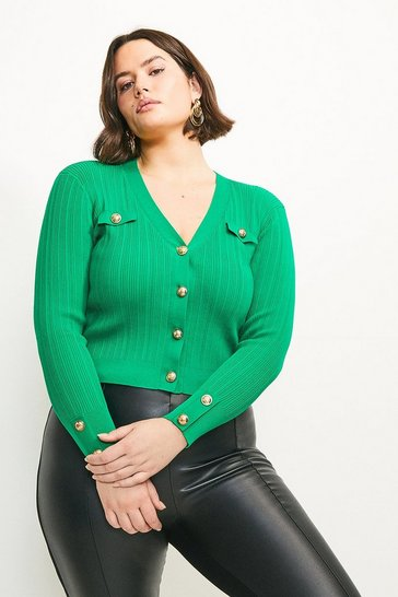 Green Curve Military V Neck Cardigan