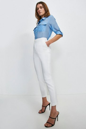 Ivory Cotton Sateen Trouser